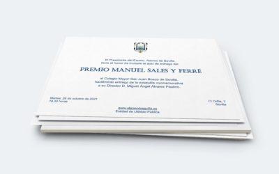 El Colegio Mayor San Juan Bosco de Sevilla recoge el premio Manuel Sales y Ferré